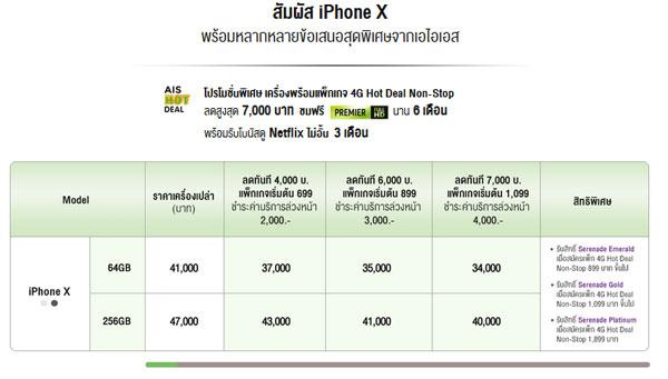 ราคา iPhone X เครื่อง โปรโมชั่นพร้อมแพ็กเกจต่างๆ