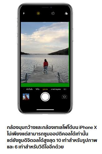 กล้องมุมกว้างและกล้องเทเลโฟโต้บน iPhone X ไม่เพียงแต่สามารถซูมออปติคอลได้เท่านั้น แต่ยังซูมดิจิตอลได้สูงสุด 10 เท่าสำหรับรูปภาพ และ 6 เท่าสำหรับวิดีโออีกด้วย