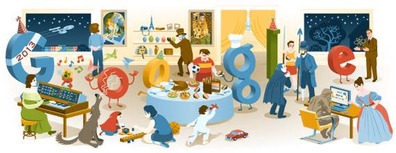 ส่งท้ายปีเก่า 2555 สวัสดีปีใหม่! Doodle by Google