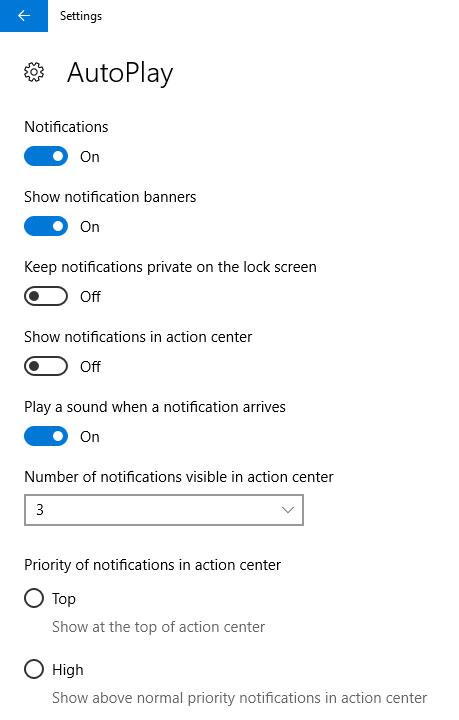 notifications setting