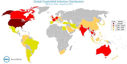 ประเทศที่ติดไวรัสเรียกค่าไถ่ติดอันดับโลก