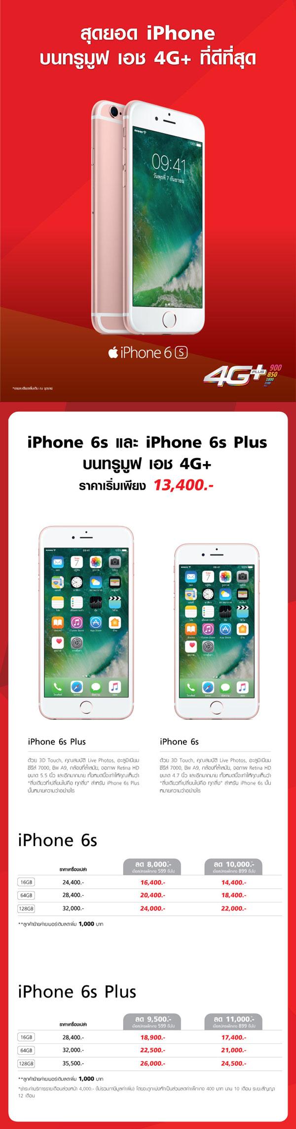 iPhone 6 และ iPhone 6 Plus ราคาเริ่มต้น 9,800 บาท iPhone 6s และ iPhone 6s Plus เริ่มต้น 13,400 บาท